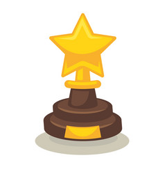 Trophy in form of star on pedestal isolated on vector