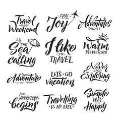 Typography hand writing set motivation words and vector