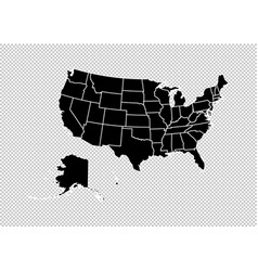 usa map - high detailed black map with vector image