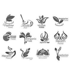 vegetarian and vegan cafe restaurant leaf icons vector image