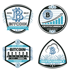 vintage colored crypto currency emblems set vector image