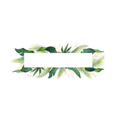 Watercolor banner tropical leaves isolated vector