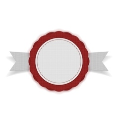 White blank Emblem on red Ribbon vector image