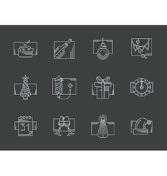 White line New Year celebration icons set vector image