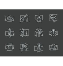 White line New Year celebration icons set vector image