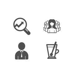 Women group analytics and human icons tea mug vector