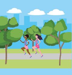 women running with sportwear vector image