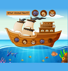 Wood boat sailing with animals theme vector