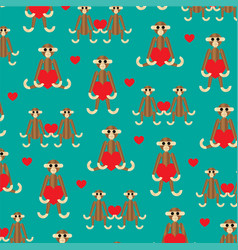Wooden monkey pattern vector