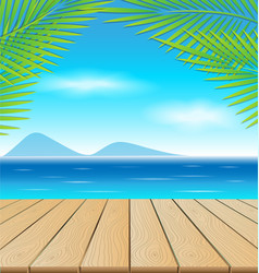 Wooden table in the beach vector