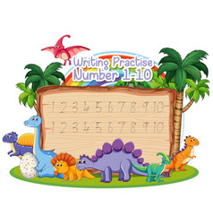 Writing number practice dinosaur theme vector