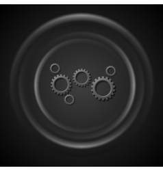 Black gears mechanism and smooth circles vector
