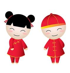 Chinese Girl-Boy Greetings vector image