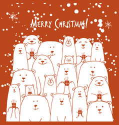christmas card with white bears family vector image vector image