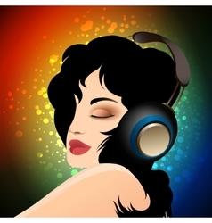Girl in headphones vector image vector image