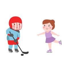 hockey player boy with stick attitude bandage on vector image