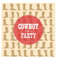 Cowboy party card vector