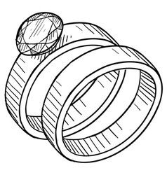 doodle wedding rings vector image