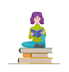 girl with the textbook sitting on a pile of books vector image