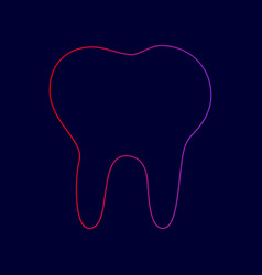 tooth sign line icon with vector image