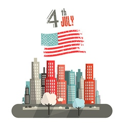 4 th July Title with American Flag and Abstract vector image vector image