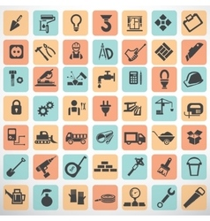 big set of work tools and construction icons and vector image