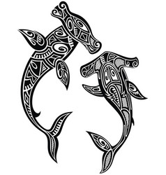 hammer sharks tattoo in maori tribal style vector image
