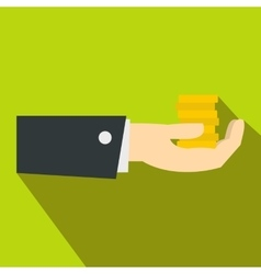 Hand giving money icon flat style vector image vector image