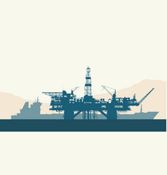 sea oil drilling rig and tanker vector image