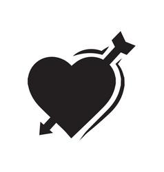 Valentines heart arrow black icon vector