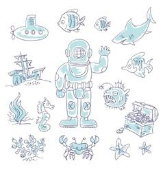 Deep Underwater diving vector image vector image