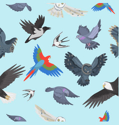 different wing wild flying birds seamless pattern vector image