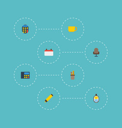 flat icons phone tea armchair and other vector image vector image