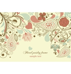 floral frame paisley motif vector image vector image