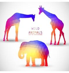 Geometric silhouettes animals Elephant Giraffe vector image vector image
