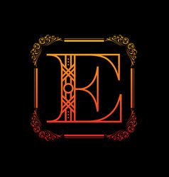 letter e with ornament vector image vector image