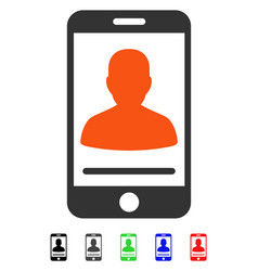 Mobile contact flat icon vector