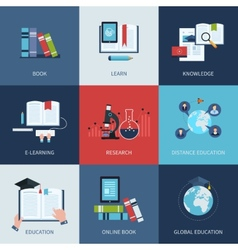 Set of icons for education include distance vector image
