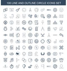 100 circle icons vector