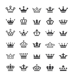 30 crown icons set vector image