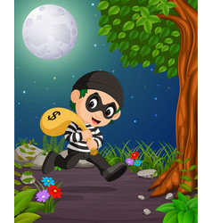 A thief under the bright fullmoon vector