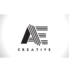 Ae logo letter with black lines design line letter vector