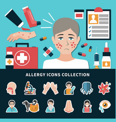 allergy icons collection vector image