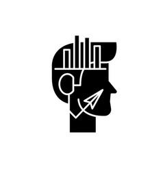 analytical thinking black icon sign on vector image