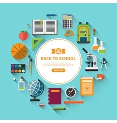 Back to school flat background vector