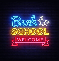 back to school welcome greeting card design vector image