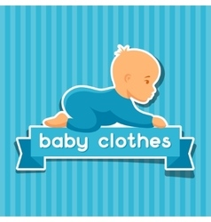 Background with sticker baclothes for newborns vector