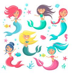 Beautiful mermaids icon vector