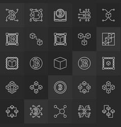 blockchain linear icons - 25 block-chain vector image