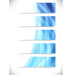 Blue bright flare wave web header footer set vector image